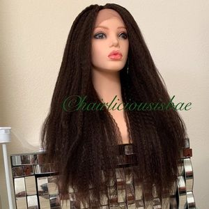 Dark brown wig ombré lace front very thick 26 long